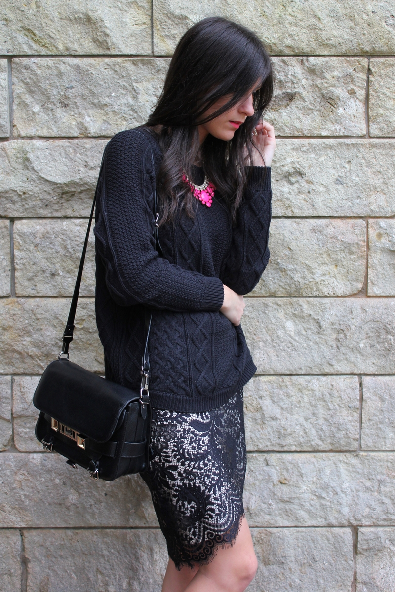 witchery cable knit lover sara lace skirt PS11 wellington