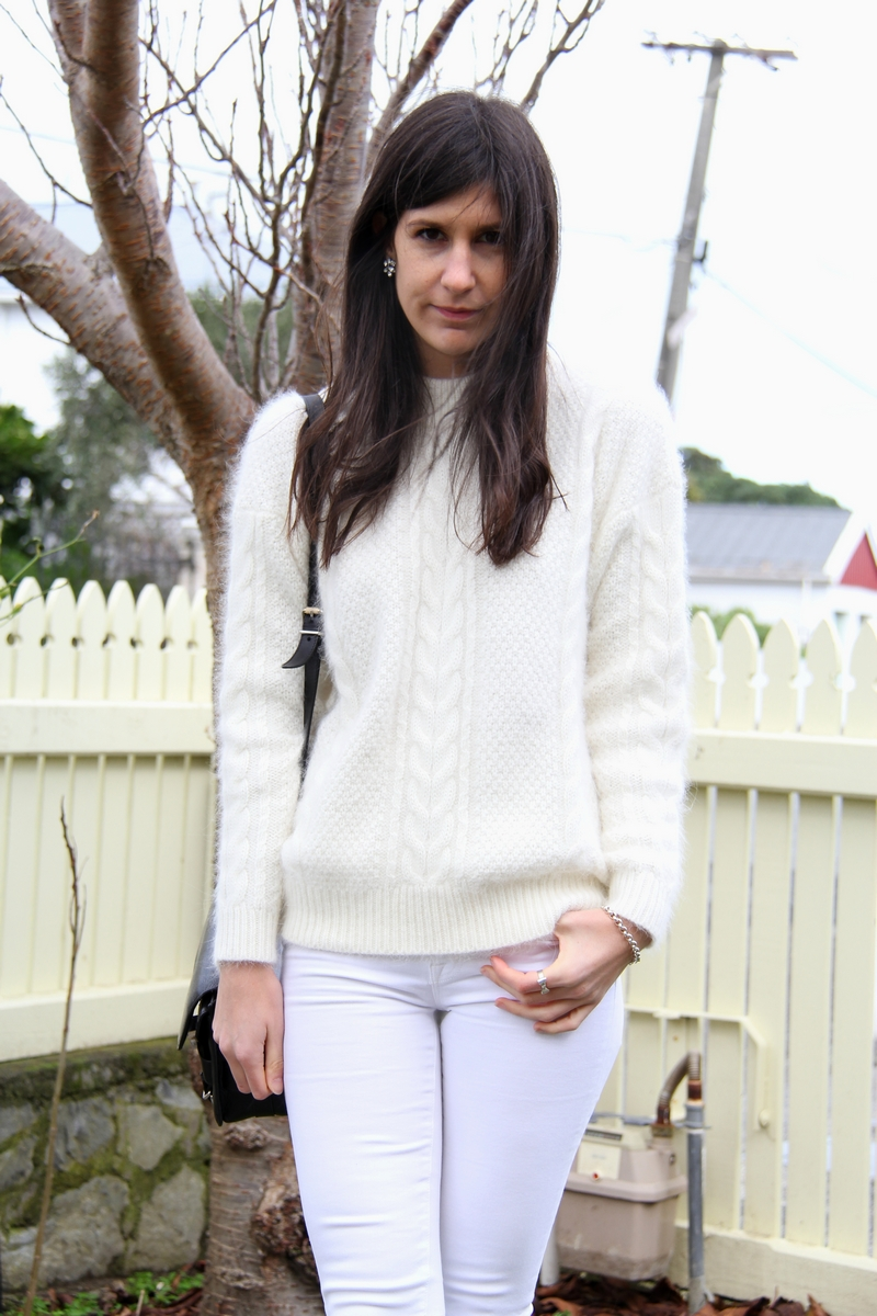 lover cable knit sweater j brand jeans