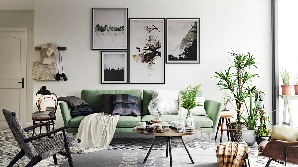 scandi decor green couch