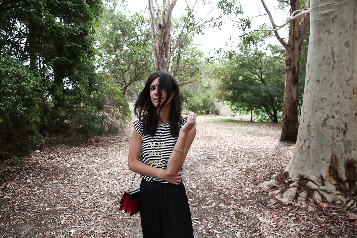 minimal outfit stripes silk culottes
