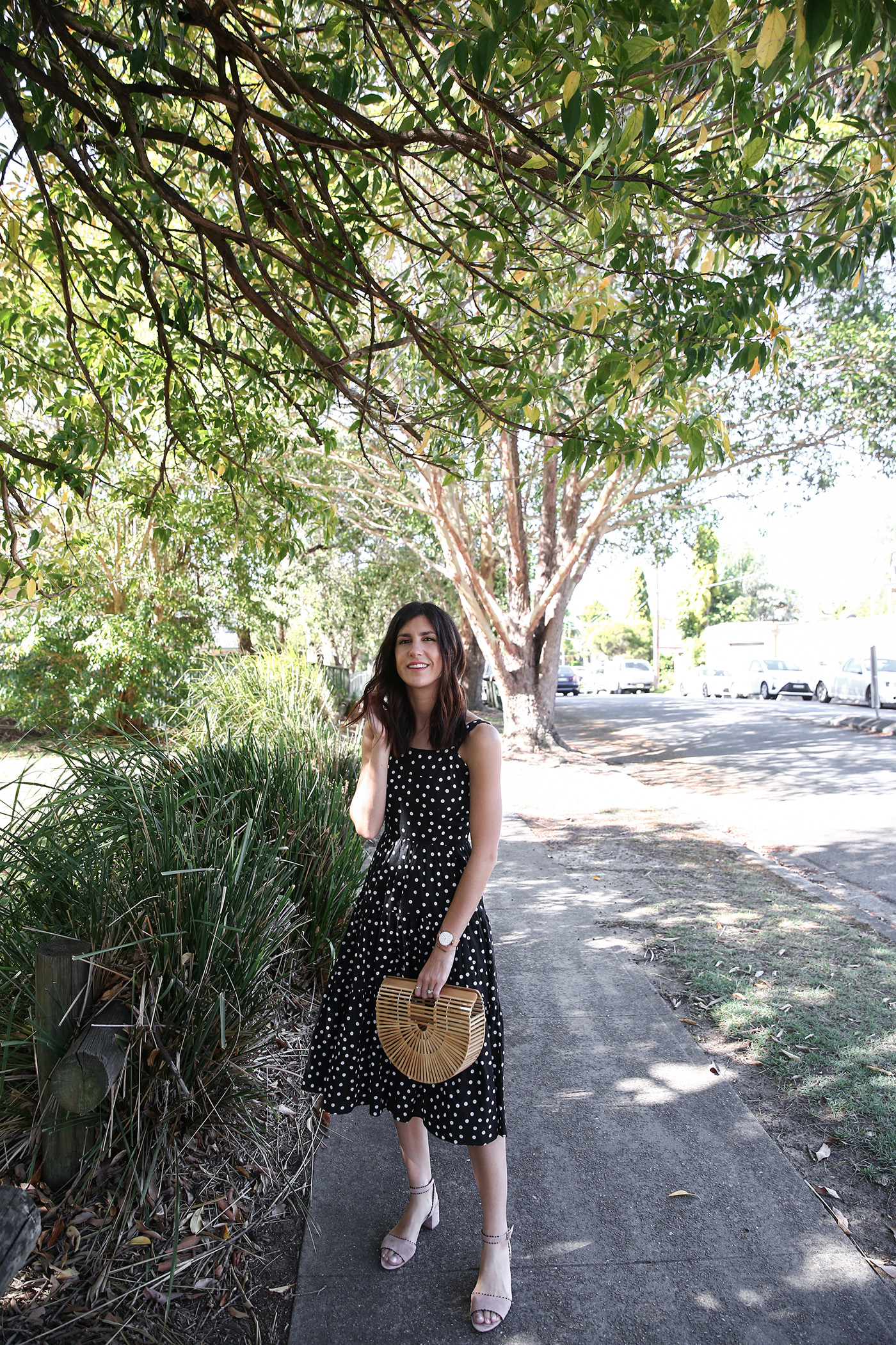 minimal outfit polka dot print dress