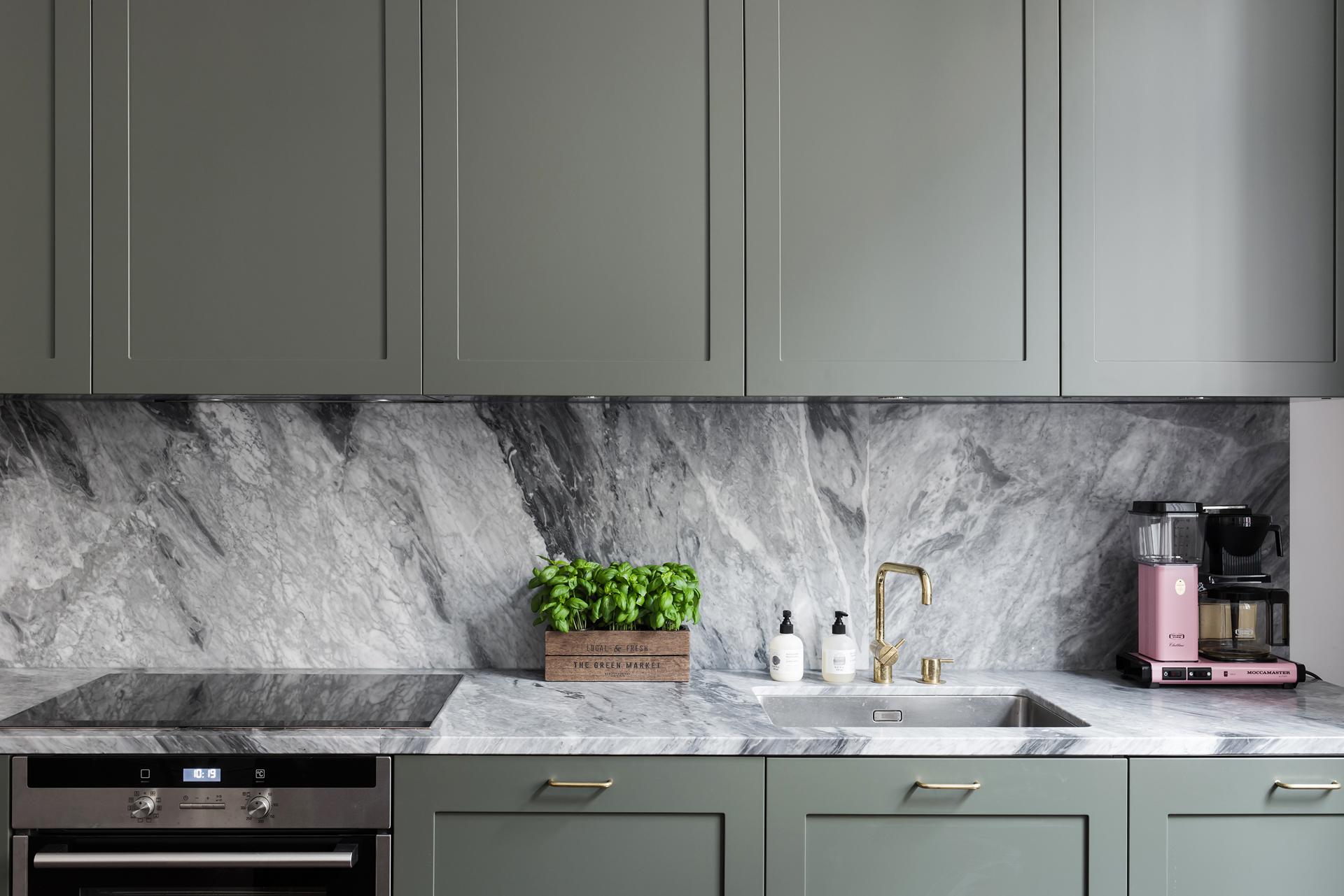 minimal scandinavian kitchen sage green marble decor