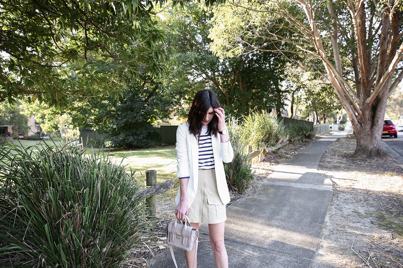 minimal outfit breton stripe top and blazer mademoiselle