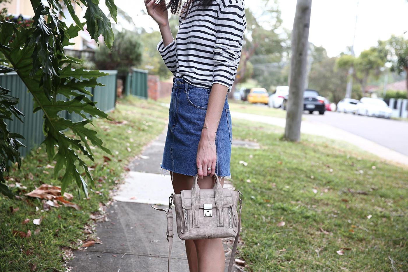 minimal outfit stripe top denim mini mademoiselle