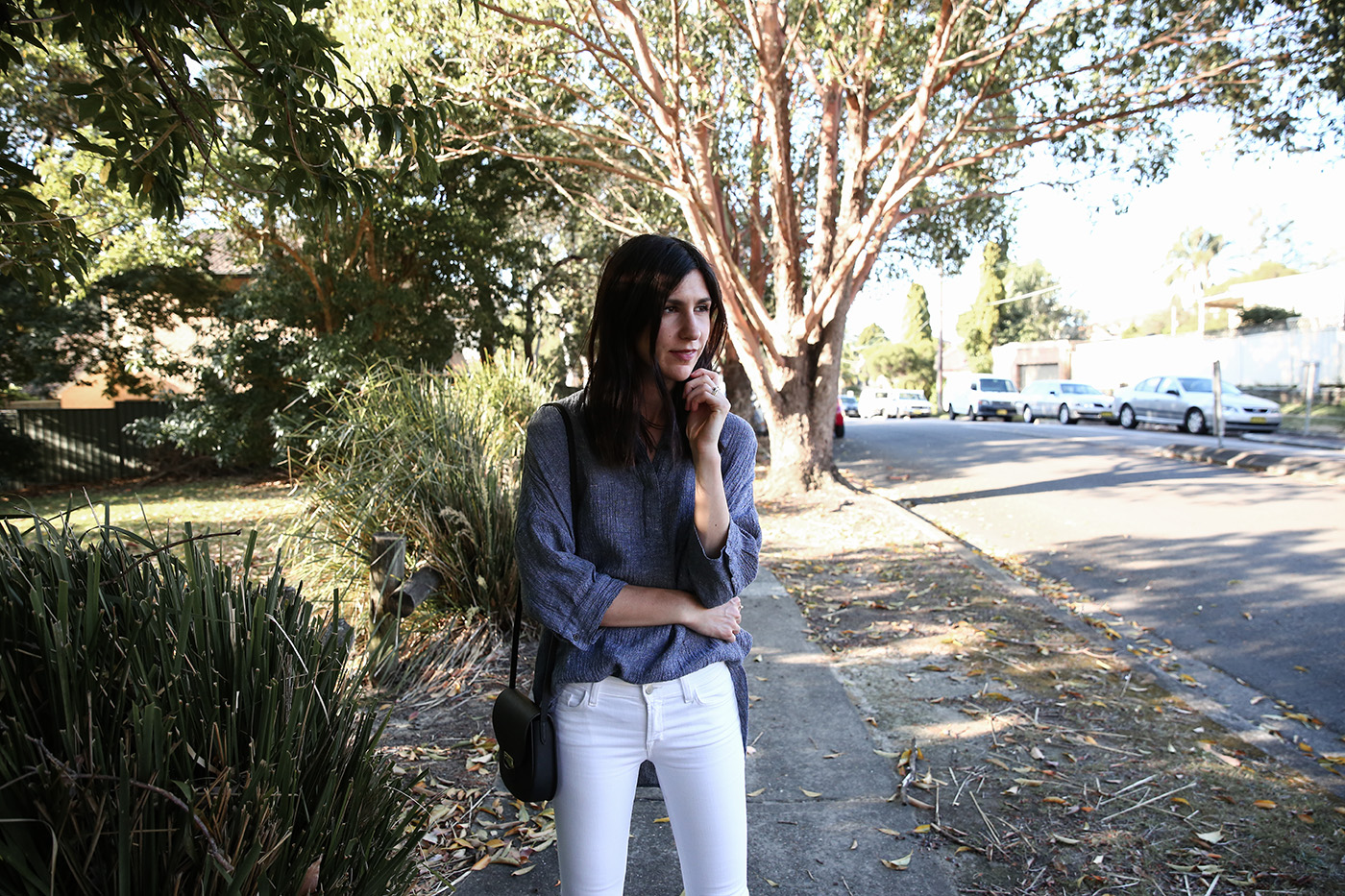 minimal outfit wearing cotton linen shirt