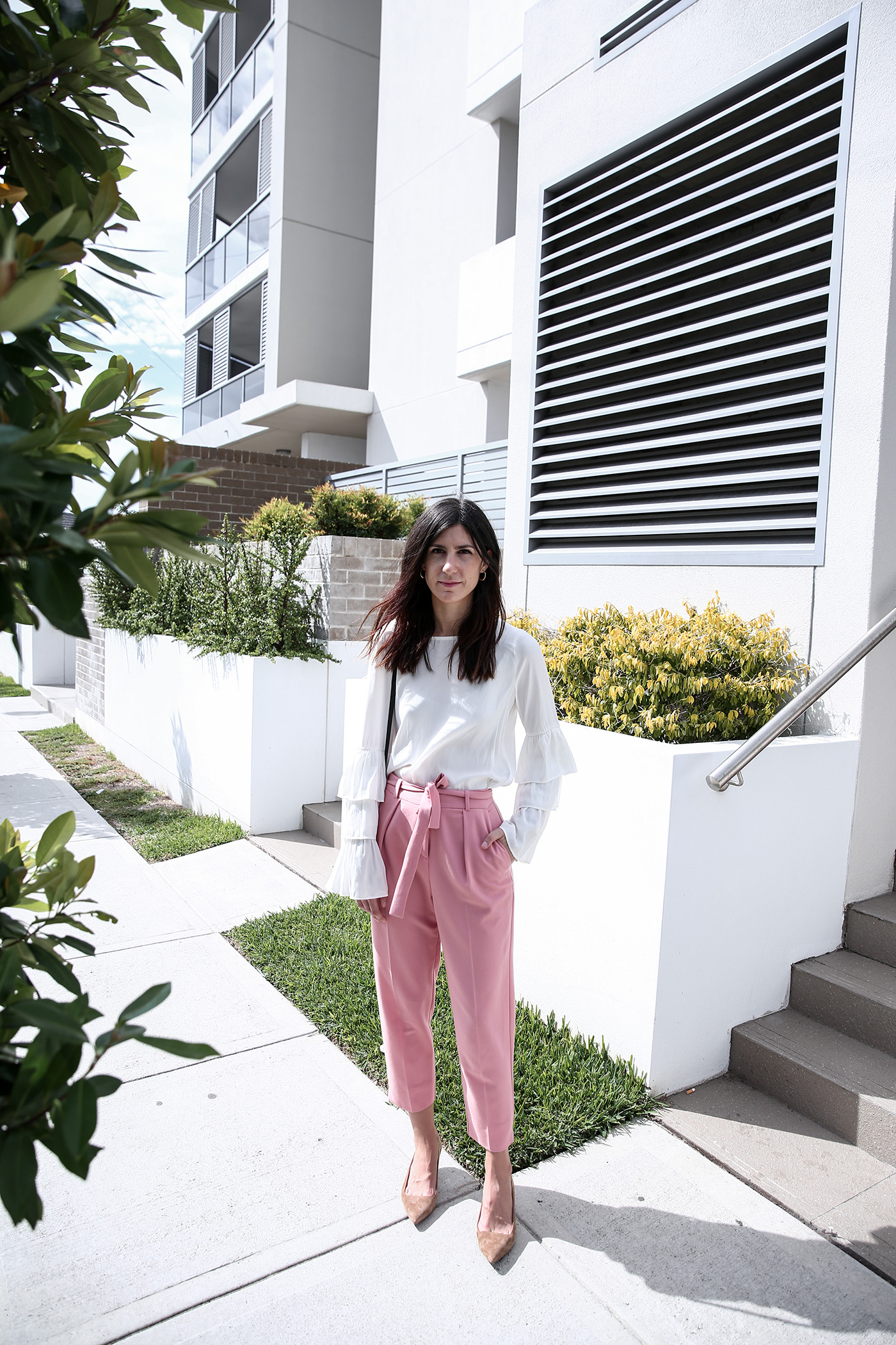 outfit wearing pink trousers