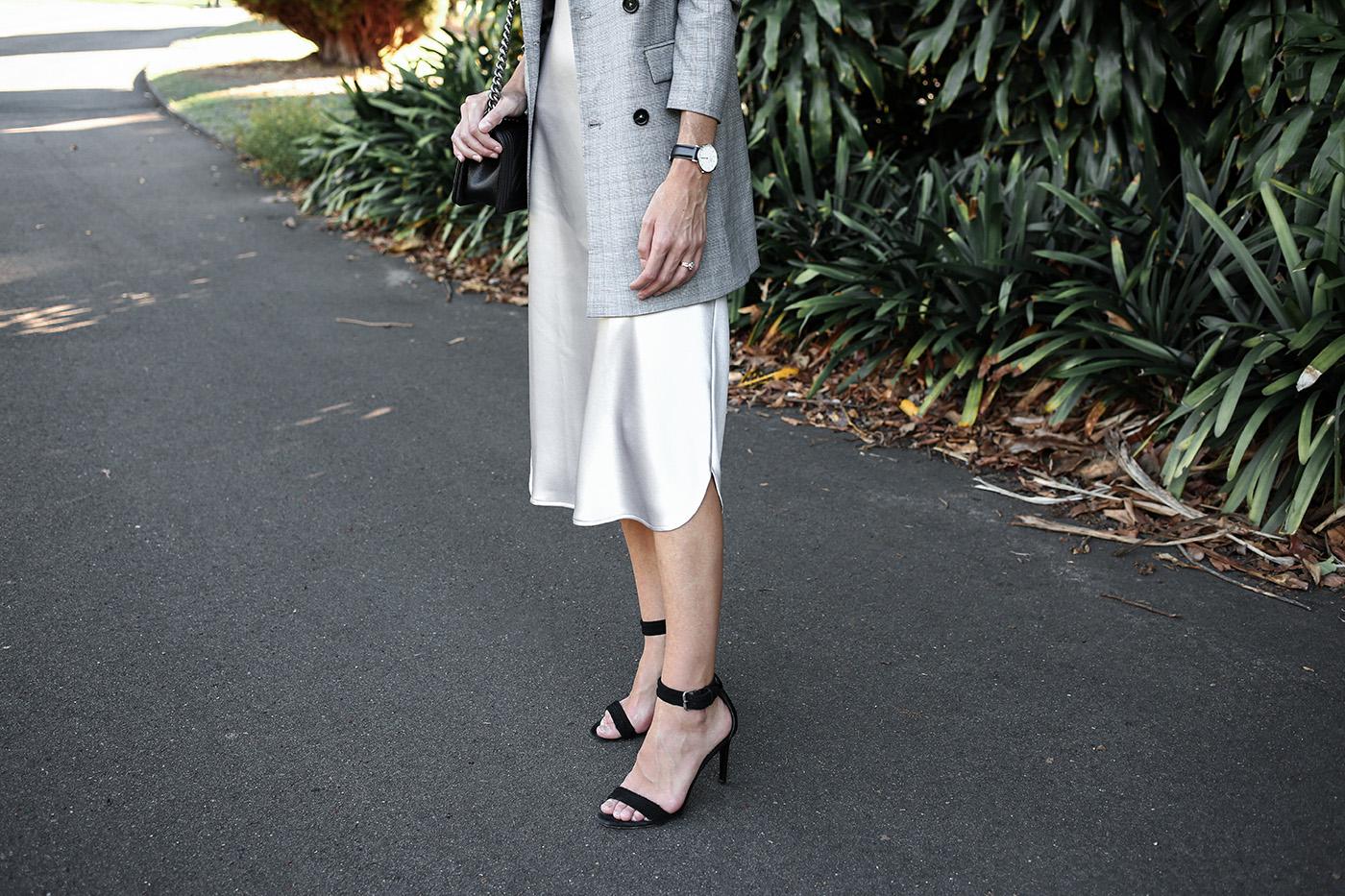 minimal outfit slip dress wedding