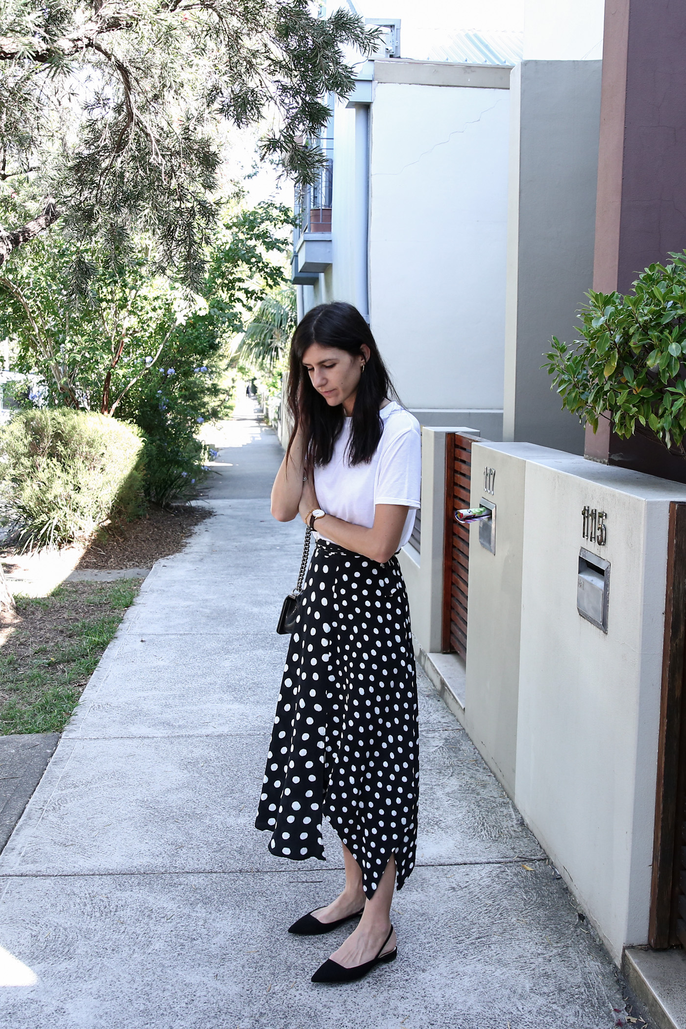 37c980411a White tee + Polka Dot Skirt | Mademoiselle | A Minimalist Fashion Blog