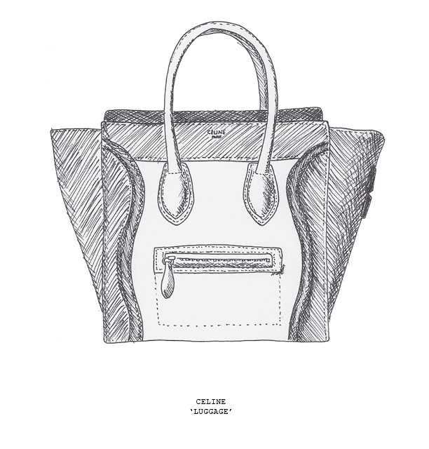 sketch celine luggage tote bag