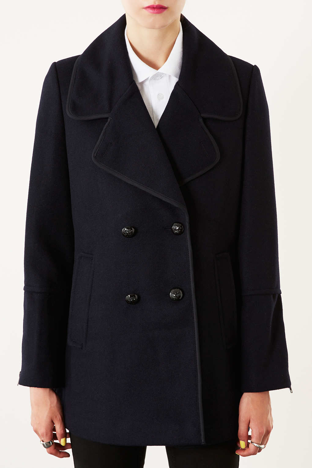 topshop navy pea coat