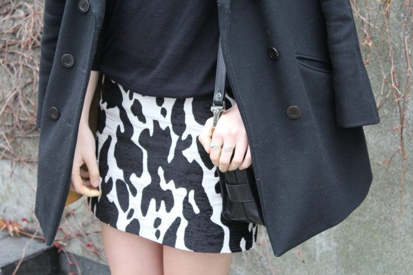zara cow print skirt
