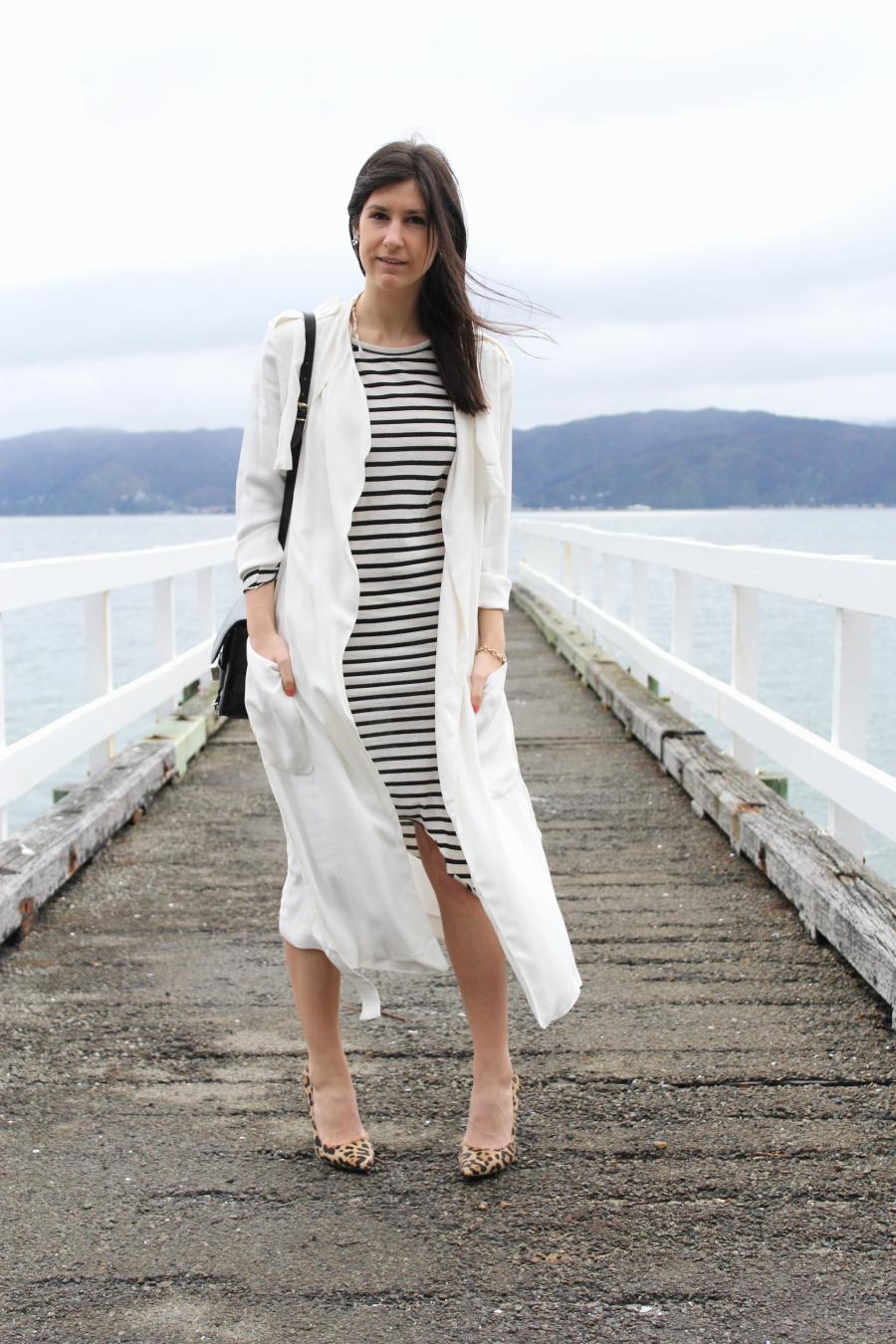 zara flowing trench bassike stripe dress