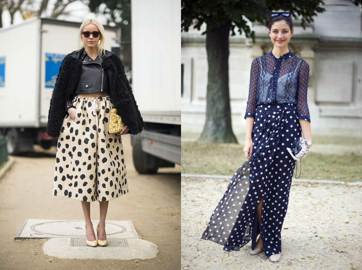 winter wardrobe street style polka dots