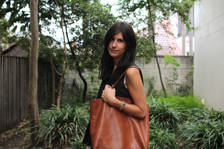 tibi peplum top cuyana leather tote bag