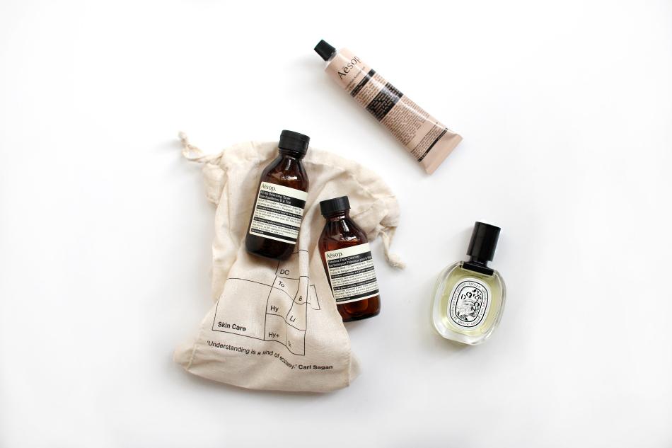 aesop skincare facial cleanser diptyque do son parfum perfume