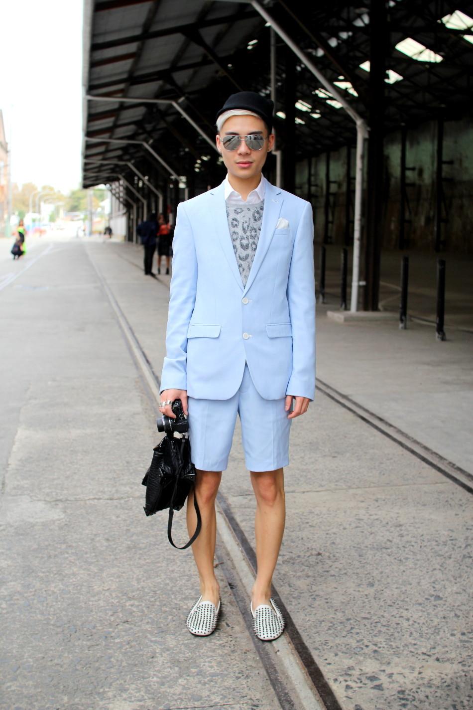 MBFWA fashion week street style baby blue suit menswear