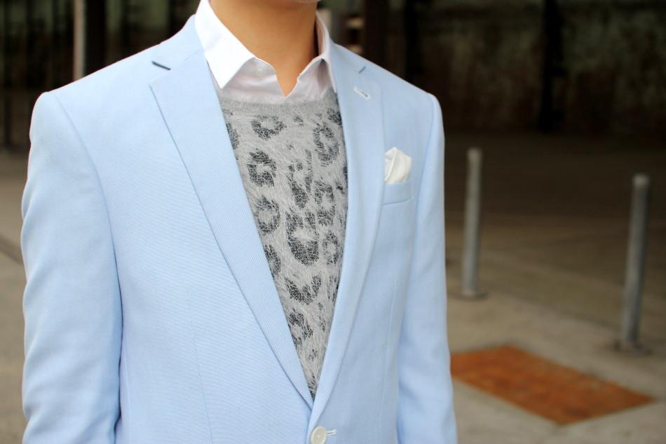 MBFWA street style baby blue suit menswear