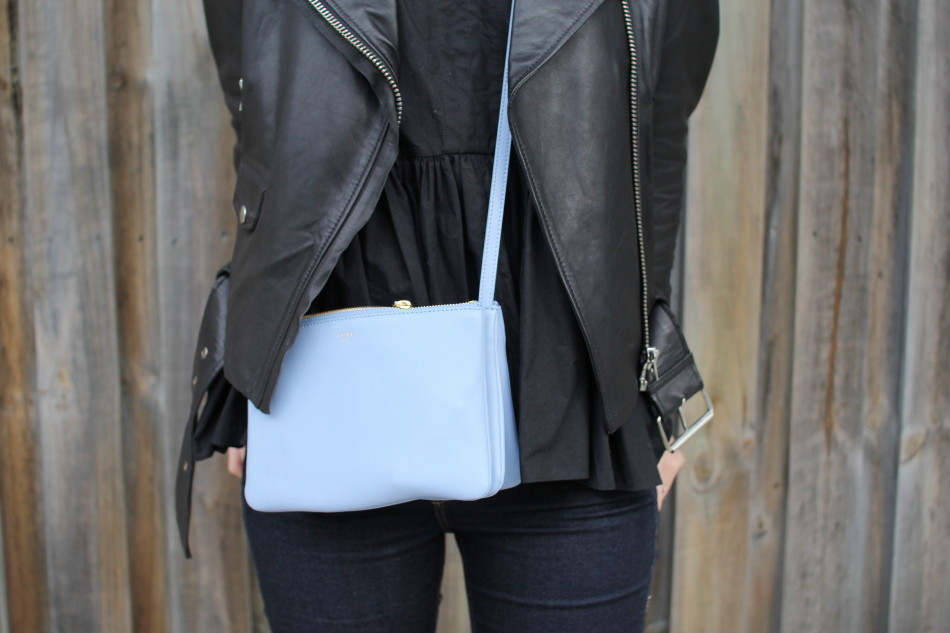 acne mape leather jacket celine trio