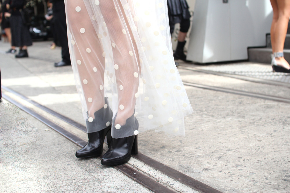 sass bide house proud sheer tulle polka dot maxi skirt alexander wang boots