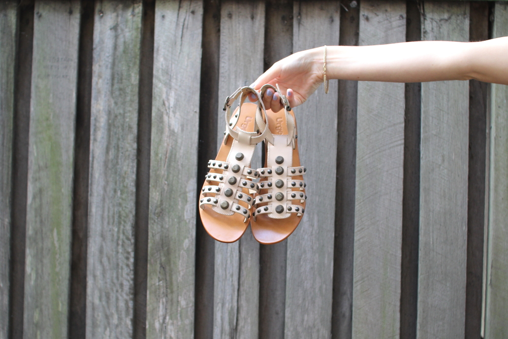 urge gladiator studded sandals