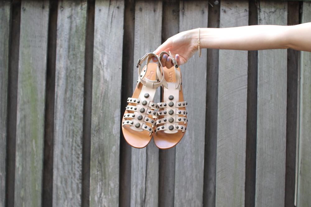 urge gladiator studded sandals