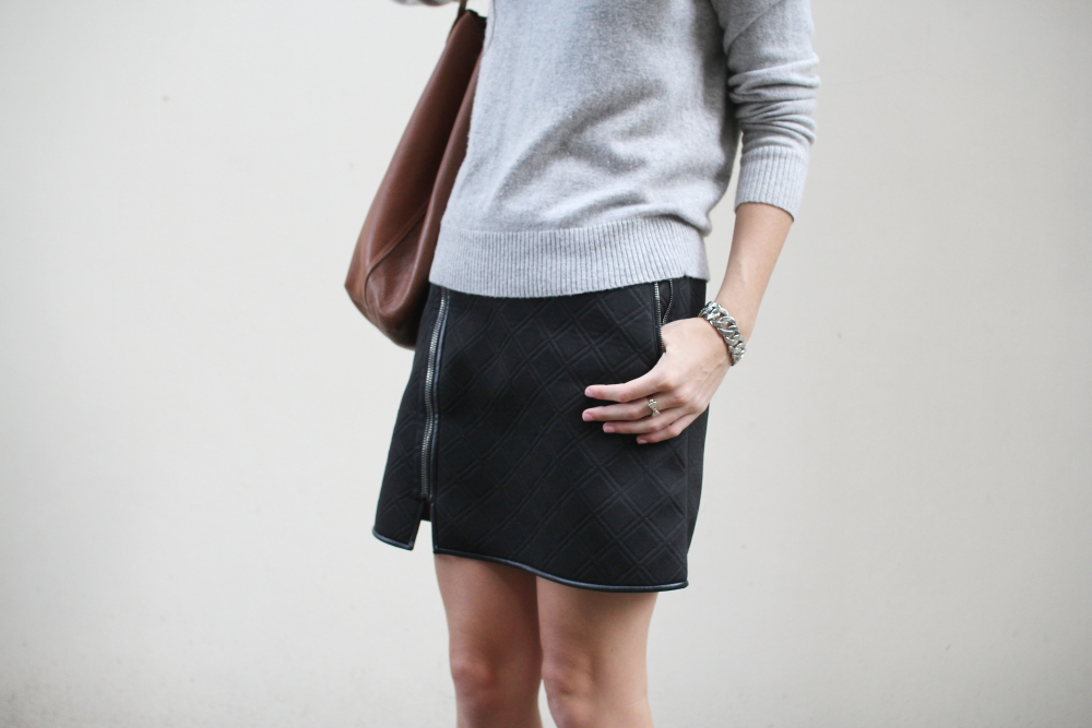 ashley fogel sweater phillim lim quilted skirt