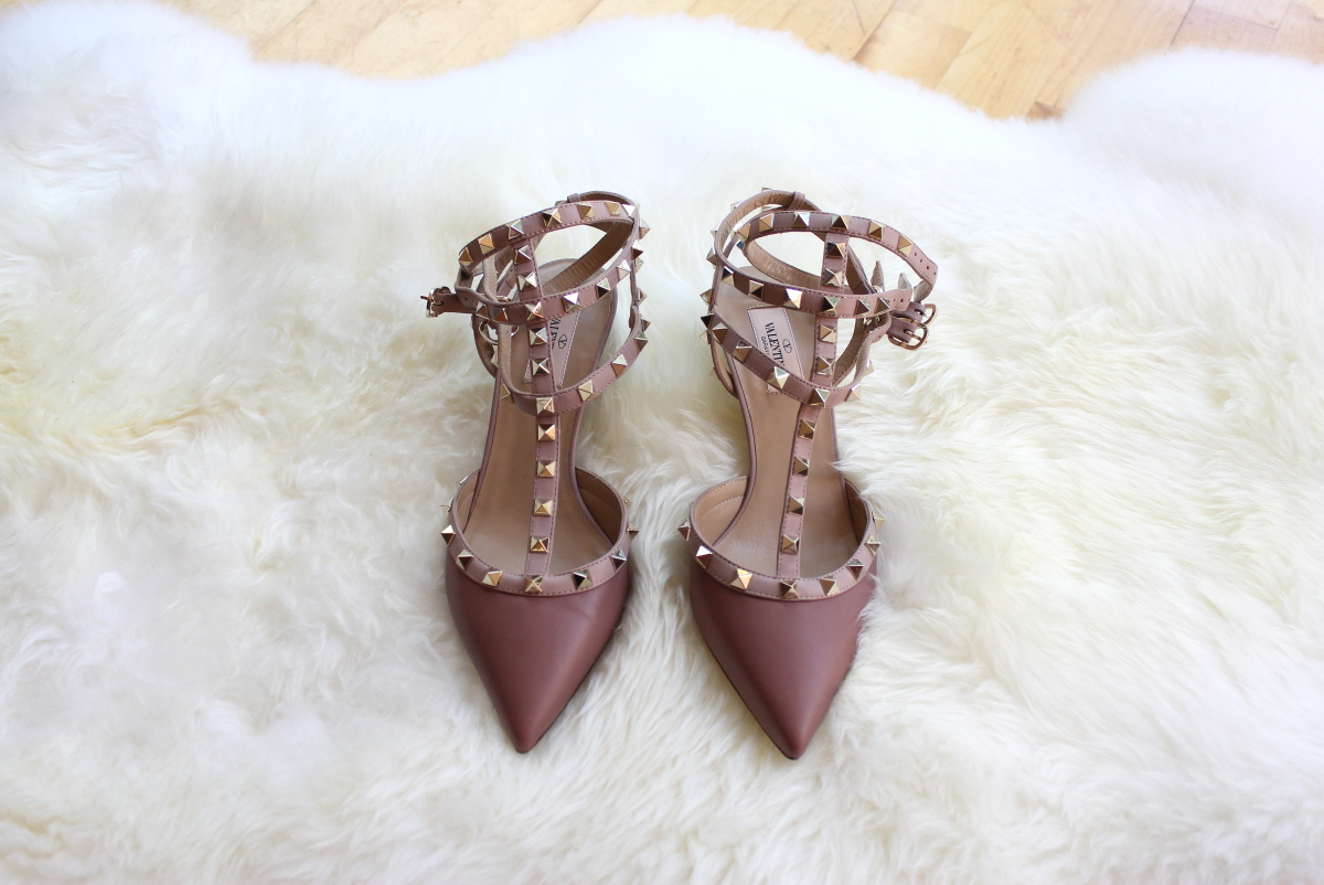 valentino rockstud kitten heels blush brownish leather shoes