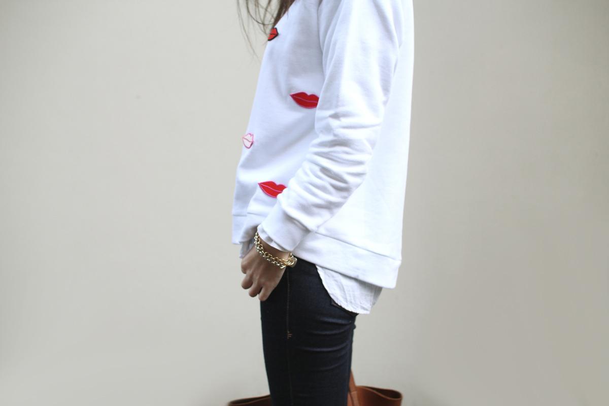 Stella Mccartney lips sweatshirt frame denim jeans