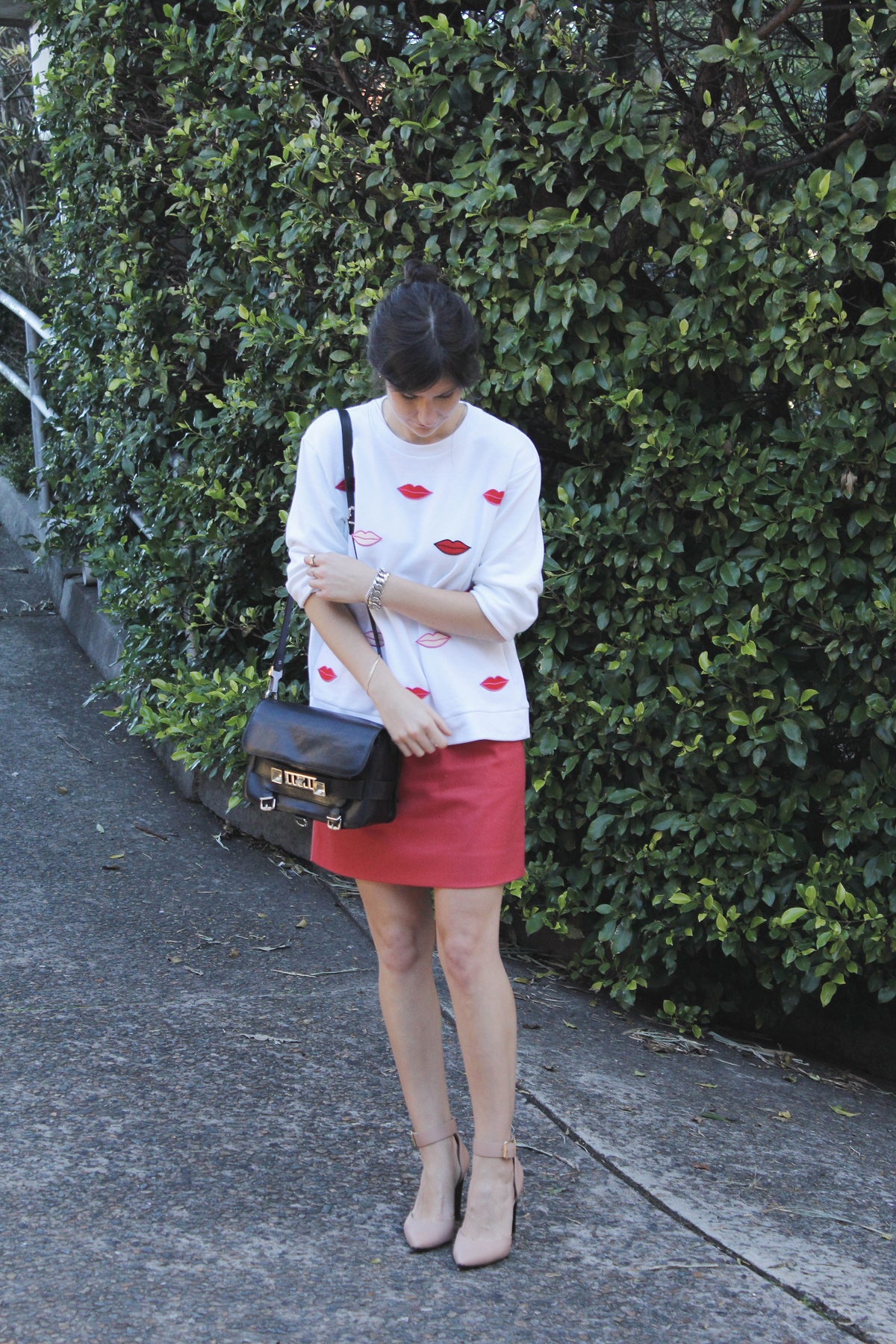 stella mccartney lips sweatshirt j crew skirt marni heels