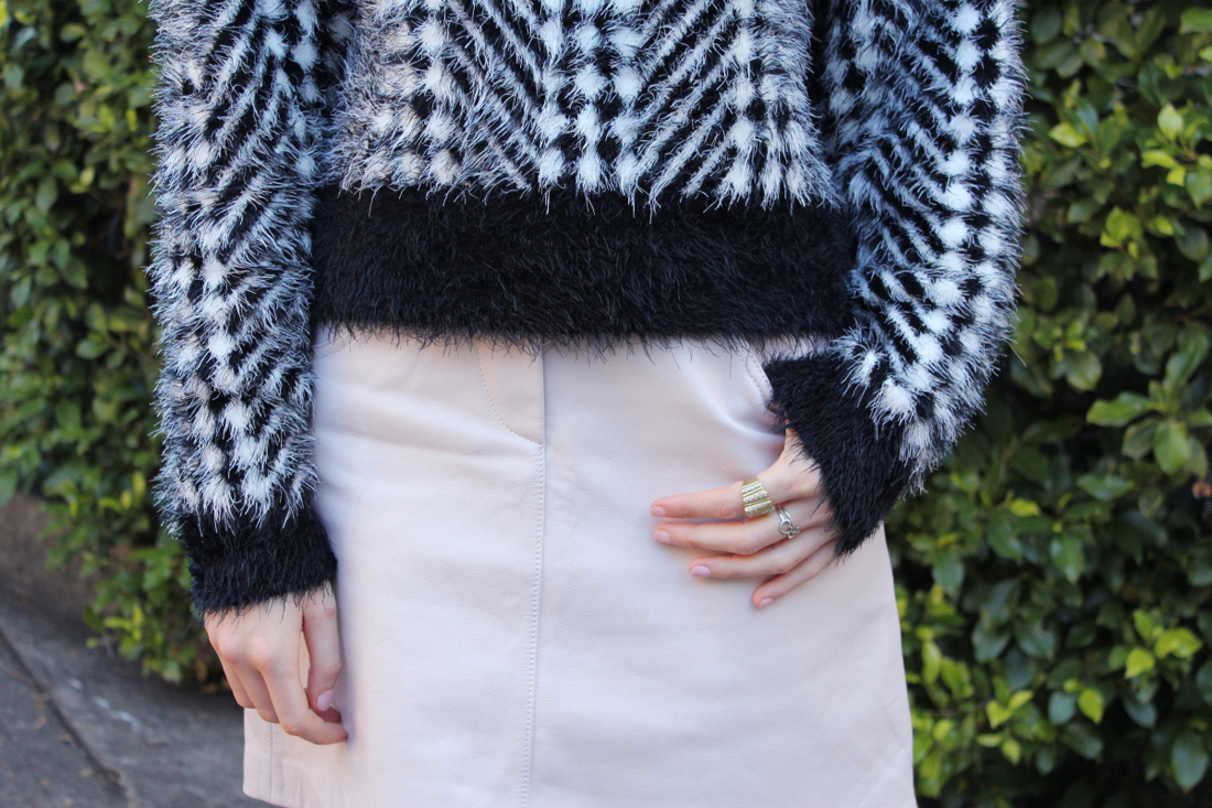 karla spetic fuzzy chevron knit sweater lover leather skirt