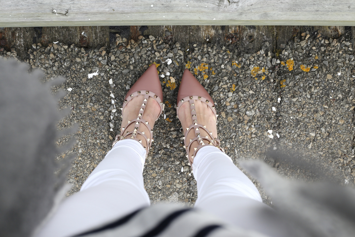valentino rockstud blush kitten heel white denim