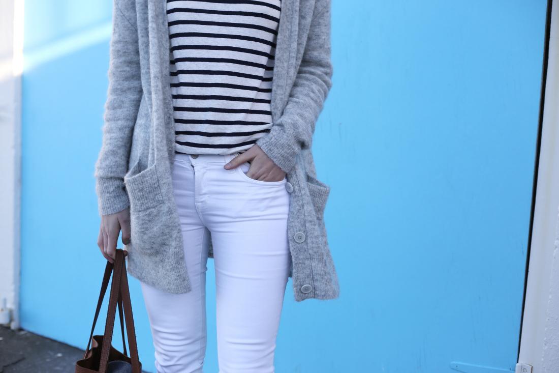 j brand skinny jeans country road grandpa cardigan alexander wang stripe cuyana tote bag