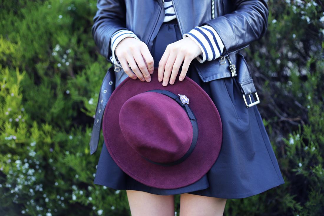RUBY x gattabravo fedora acne mape leather jacket romantic taffeta skirt