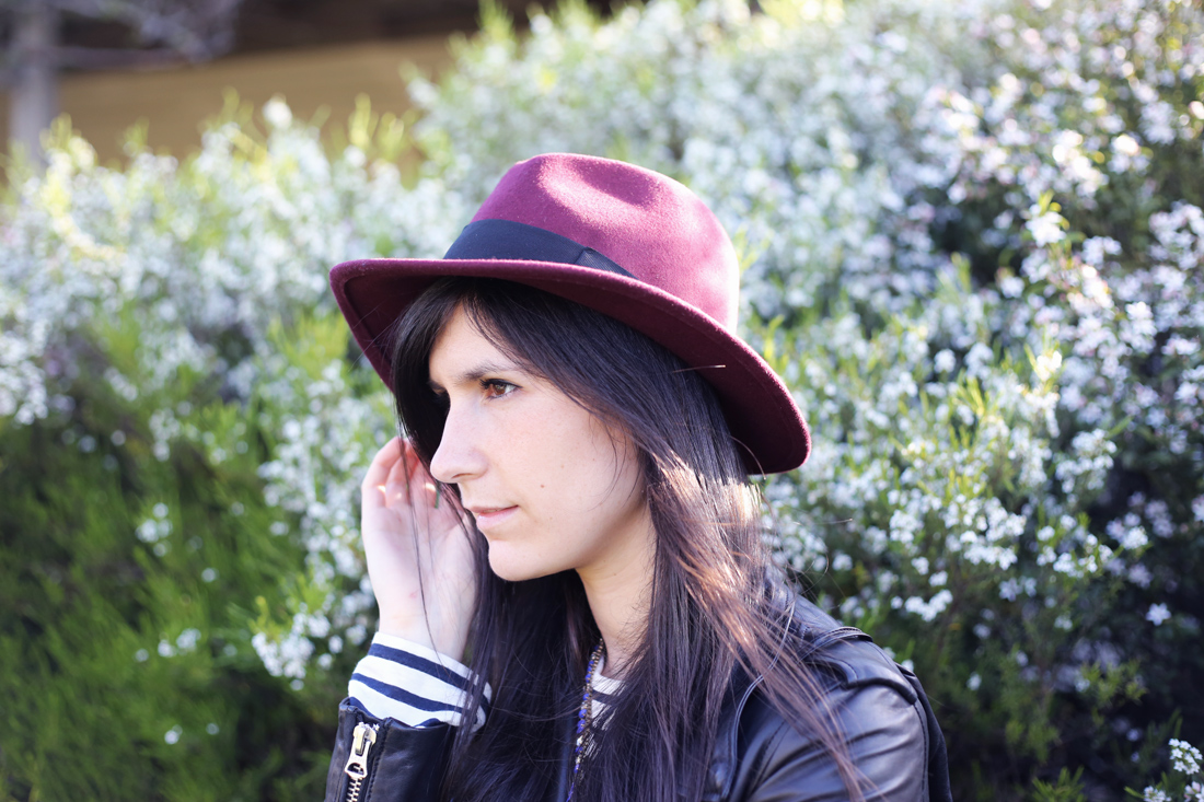 RUBY x gattabravo burgundy felt fedora acne mape leather jacket