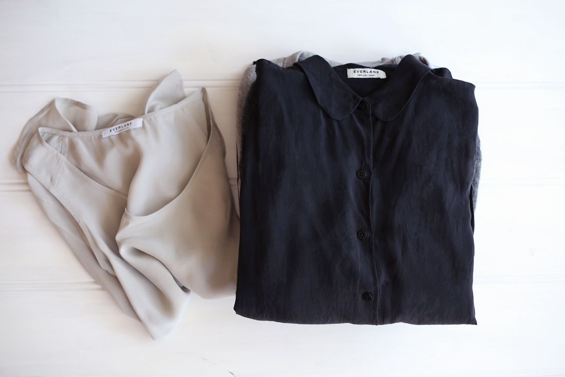 everlane silk blouse tank boyfriend sweater