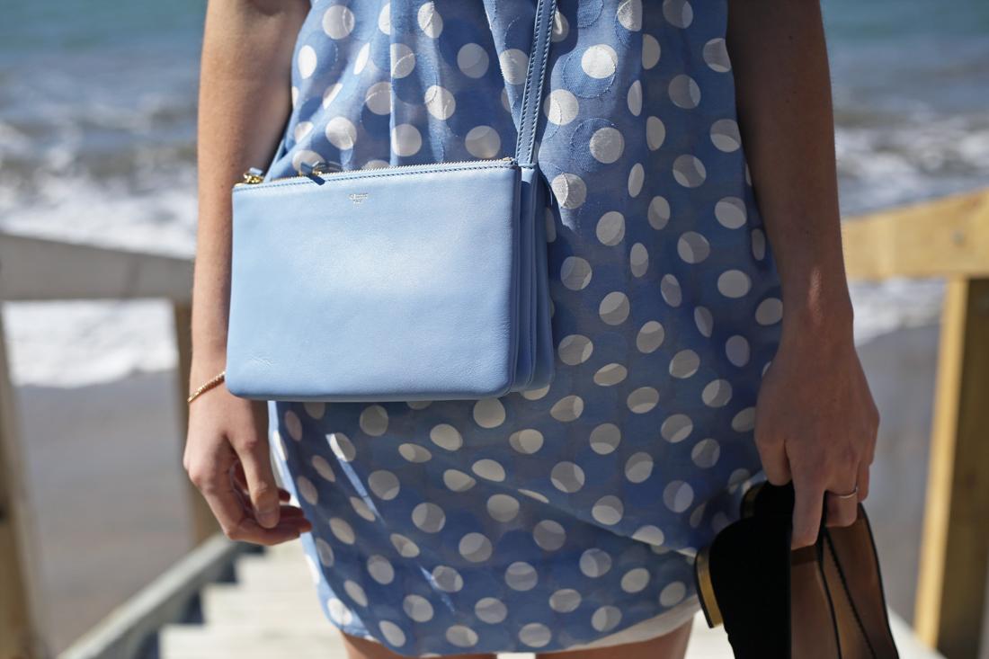 karen walker blue polka dot astonished dress celine lavender leather trio