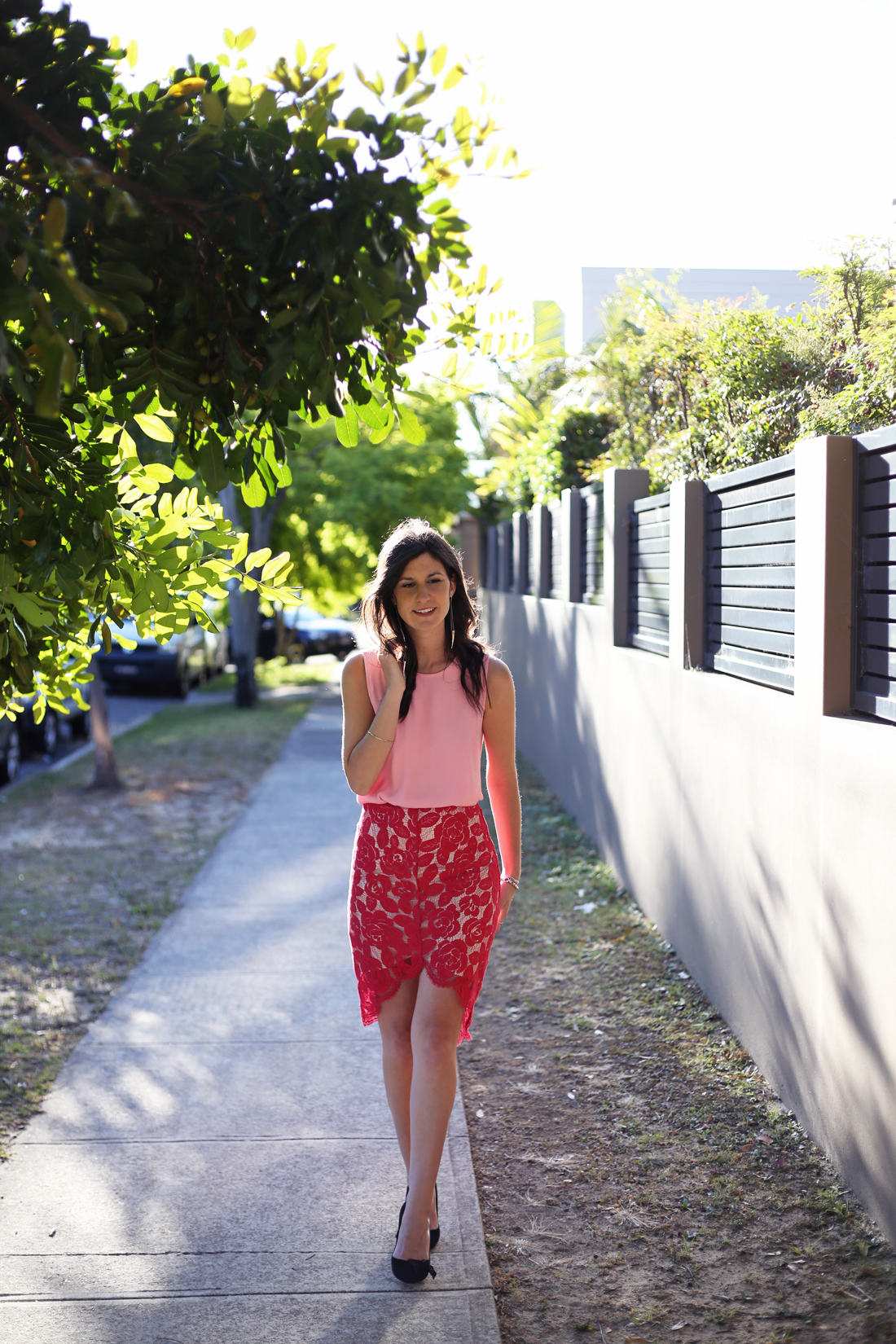 witchery petal tank lover cherry rosebud lace cocoon skirt isabel marant heels