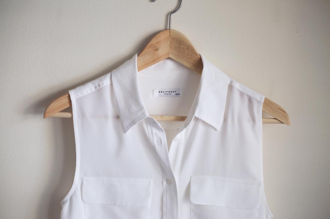 equipment bright white sleeveless silk blouse
