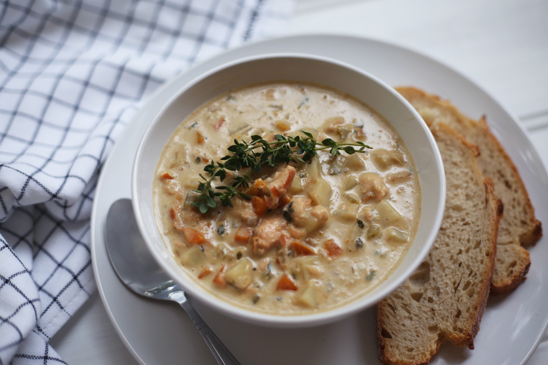 smoked salmon seafood chowder food blog photography