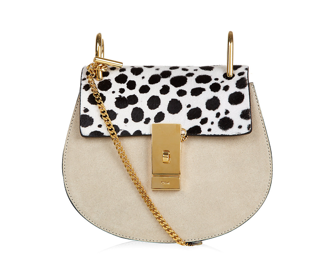 chloe drew shoulder bag snow leopard calf hair leather