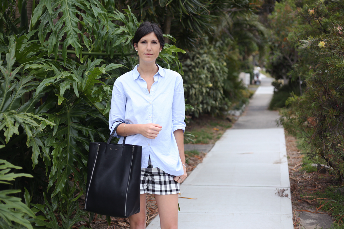 hope shirt country road plaid shorts celine cabas tote