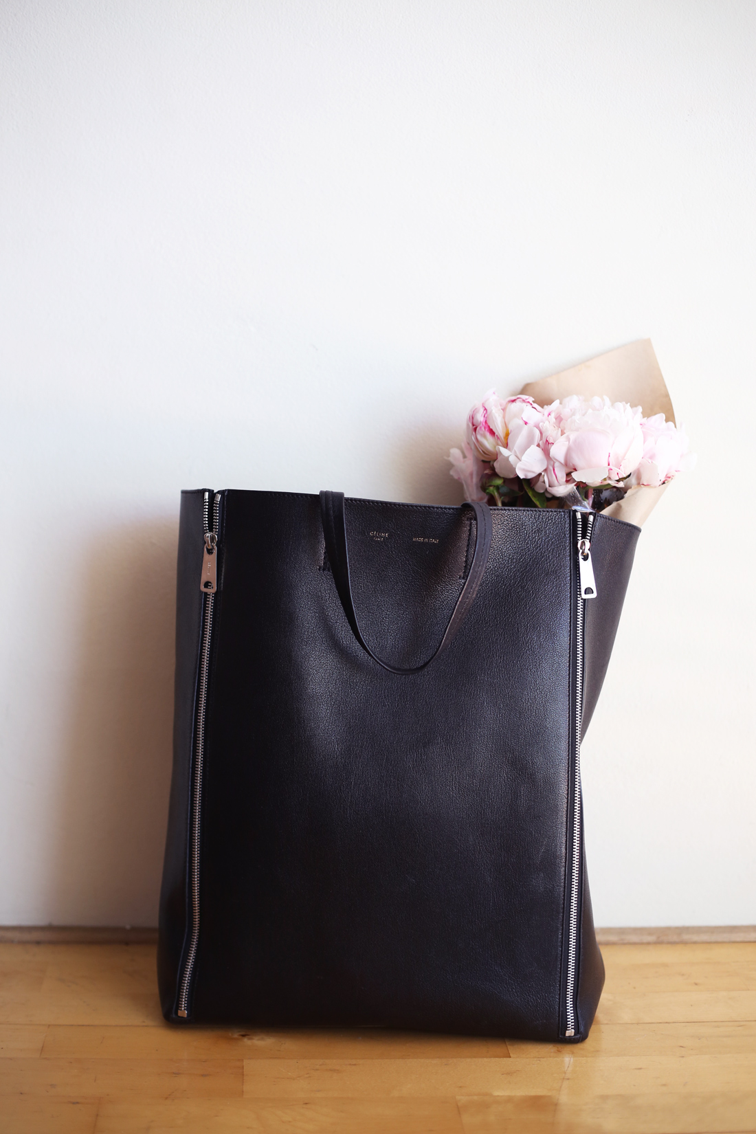 celine cabas gusset zipper bag black leather peonies