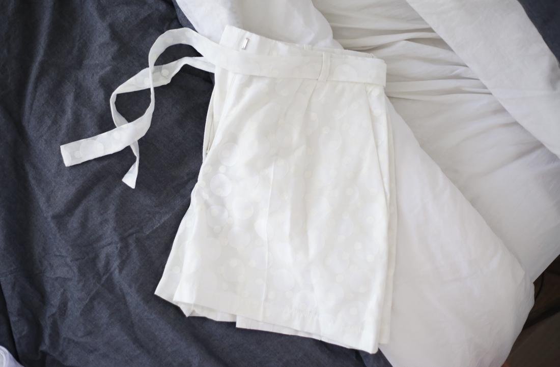 karen walker polka dot tie up shorts