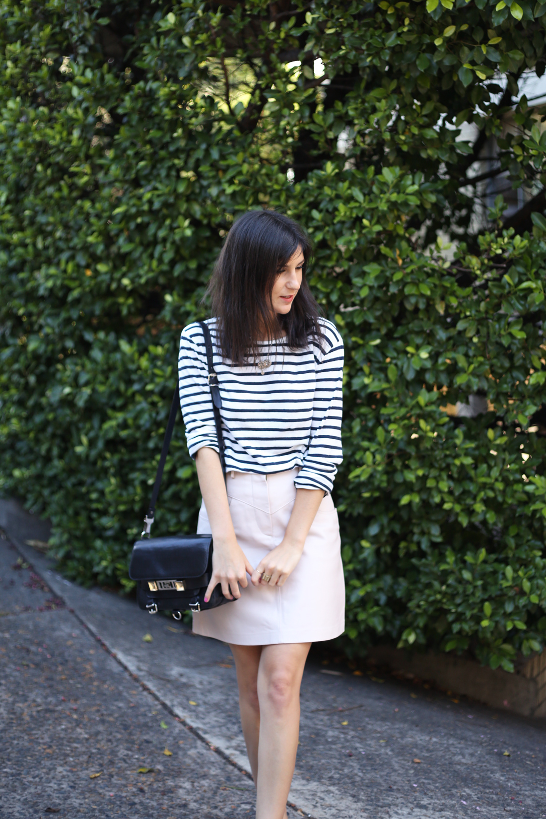 mademoiselle t by alexander wang stripe top lover leather skirt