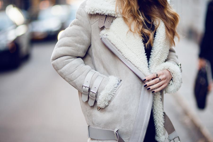 acne studios ivory velocite shearling jacket