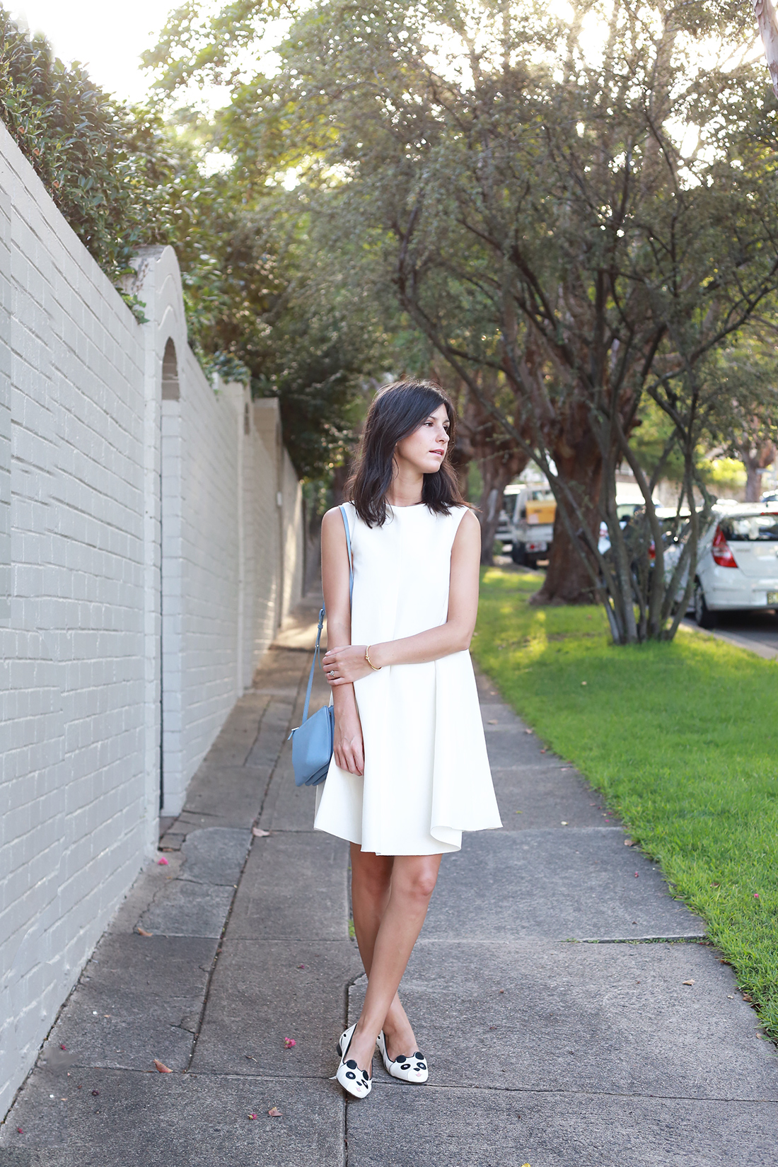 Ellery white venus flare dress.