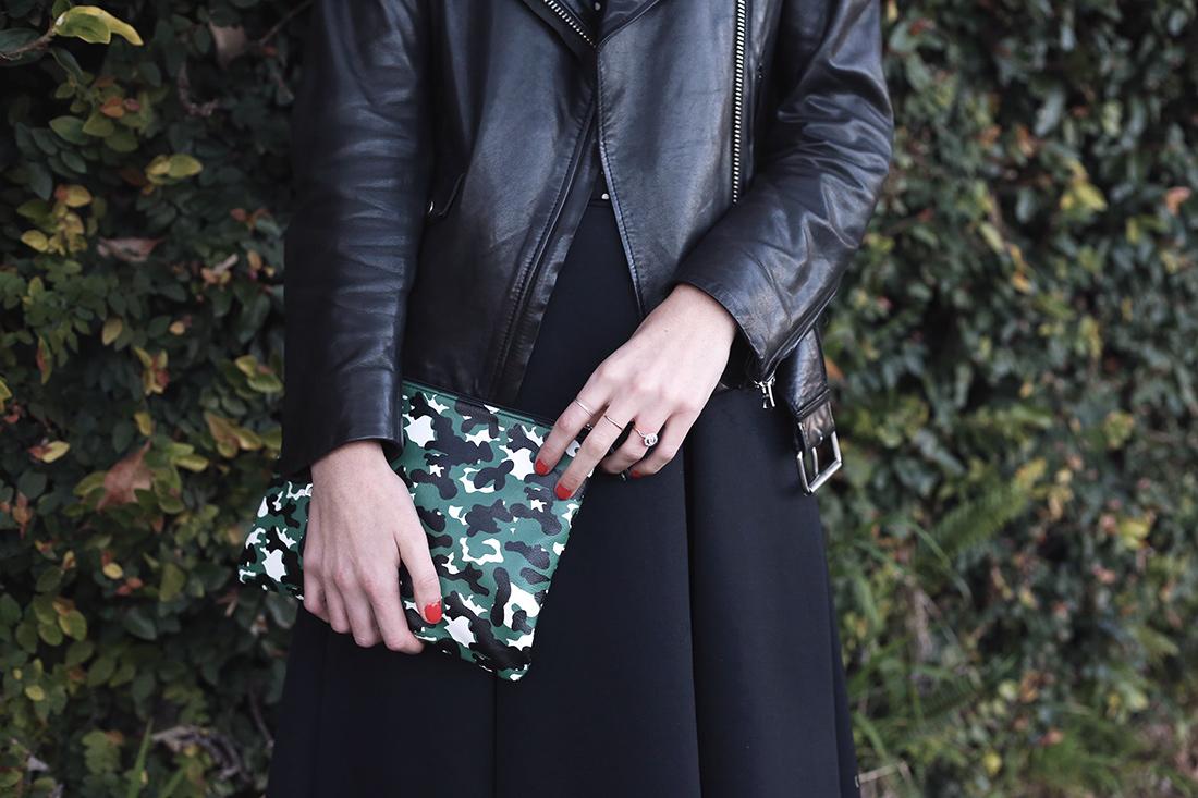 acne studios mape leather jacket asos midi skirt camo clutch