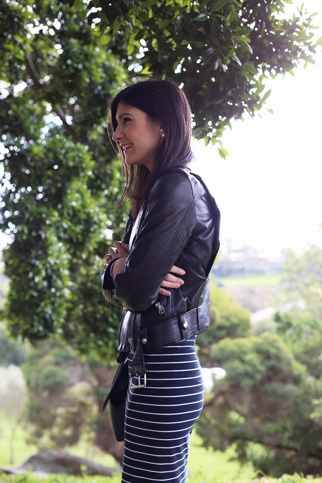 country road stripe midi dress acne studios mape leather kitty flats