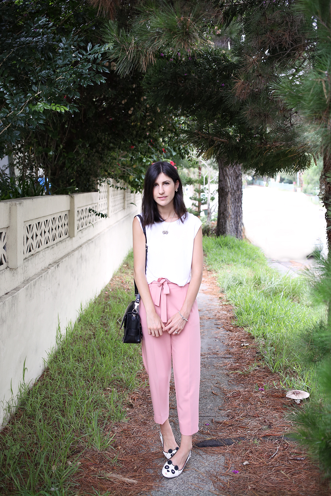 topshop pink tie waist trousers outfit style