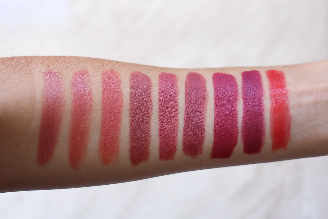 mac lipstick collection swatches Viva Glam Shanghai Spice Runway Hit Velvet Teddy Cosmo Twig Craving Positively Dashing Dozen Carnations
